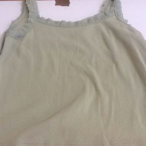 Ladies lace trim white stag tank top large
